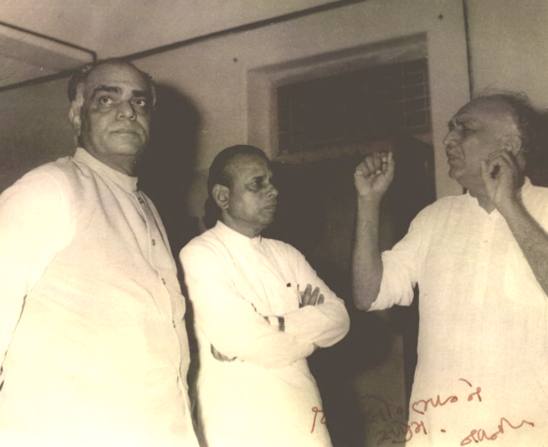 Babubhai Jasubhai Patel and Ghanshyambhai Oza(Sandesh) with Manubhai Pancholi  - Lokbharti Gallery