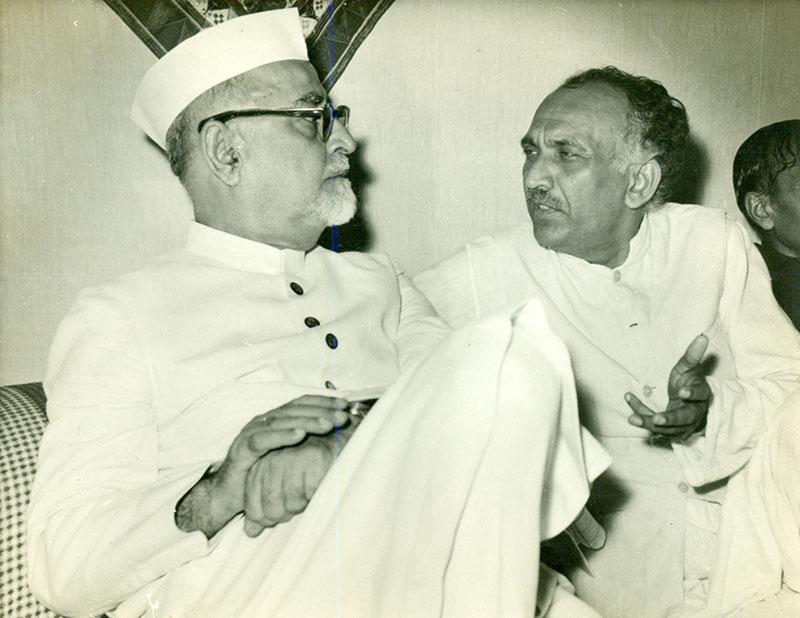 Manubhai Pancholi with Dr. Zakir Husain  - Lokbharti Gallery
